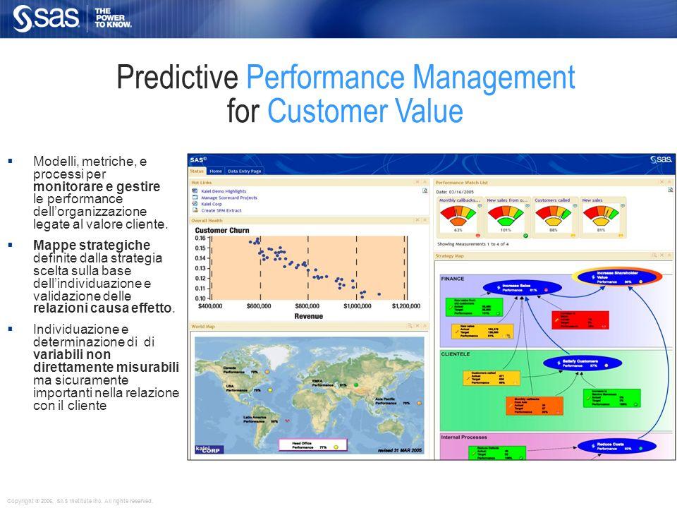 Predictive Performance Management for Customer Value Le metriche sono supportate da report analitici,previsioni e what if analysis