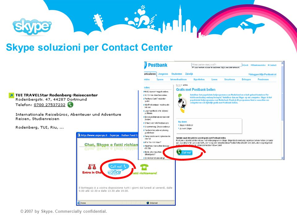 © 2007 by Skype. Commercially confidential. Skype soluzioni per Contact Center