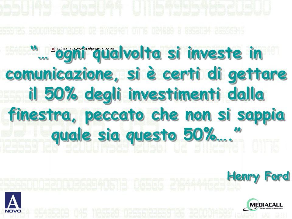 … ogni qualvolta si investe in comunicazione, si è certi di gettare il 50% degli investimenti dalla finestra, peccato che non si sappia quale sia questo 50%….