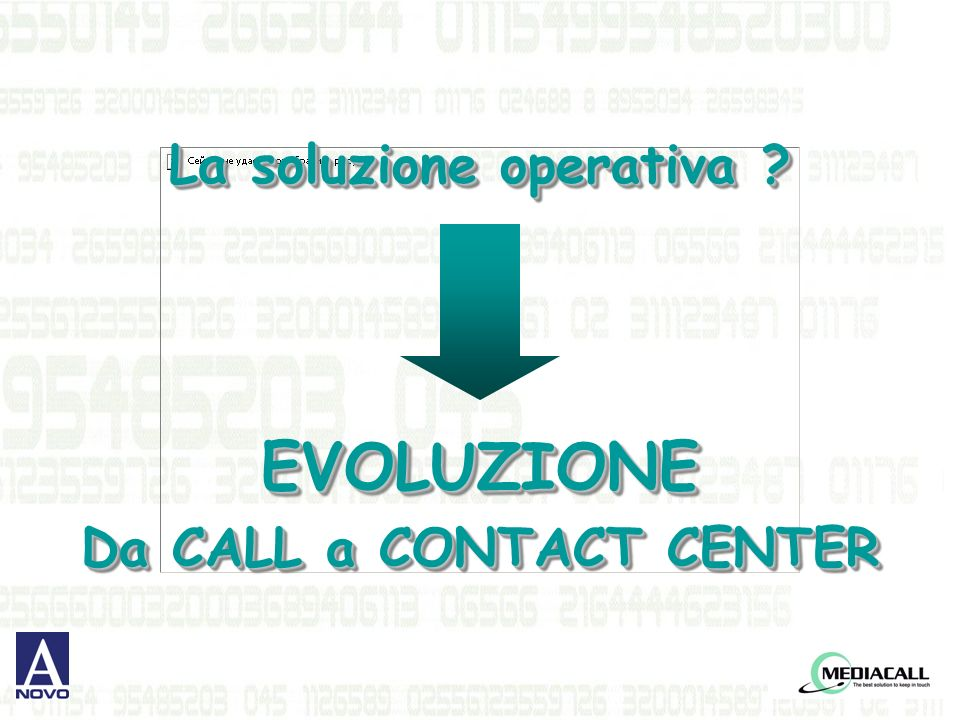 La soluzione operativa ? EVOLUZIONE Da CALL a CONTACT CENTER La soluzione operativa ? EVOLUZIONE Da CALL a CONTACT CENTER
