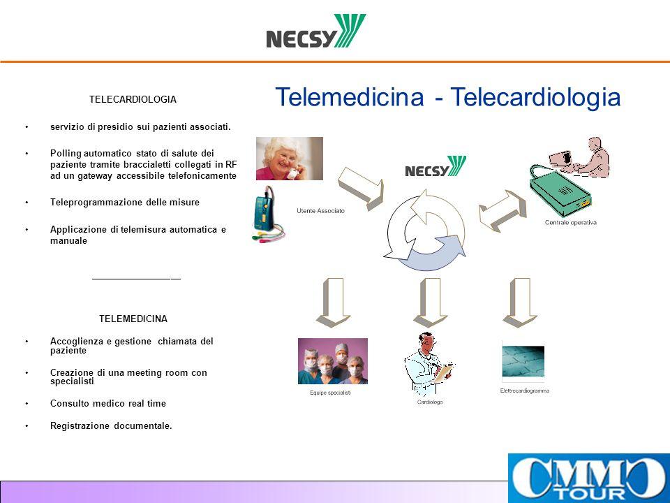 TELECARDIOLOGIA servizio di presidio sui pazienti associati. Polling automatico stato di salute dei paziente tramite braccialetti collegati in RF ad u