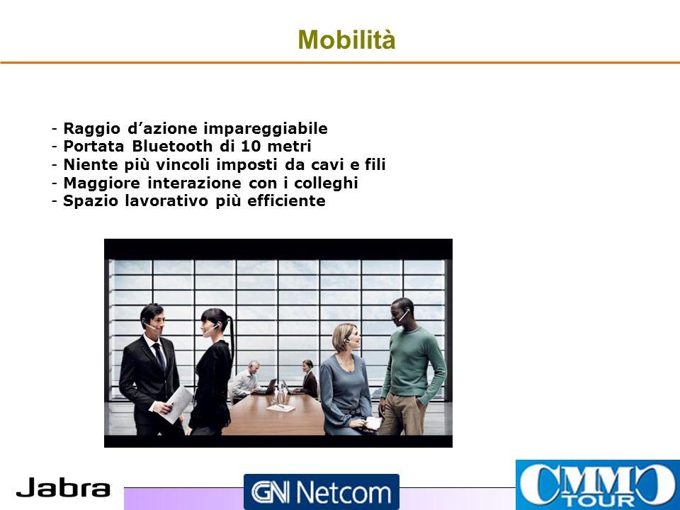 Mobilità - - Raggio dazione impareggiabile - - Portata Bluetooth di 10 metri - - Niente più vincoli imposti da cavi e fili - - Maggiore interazione con i colleghi - - Spazio lavorativo più efficiente