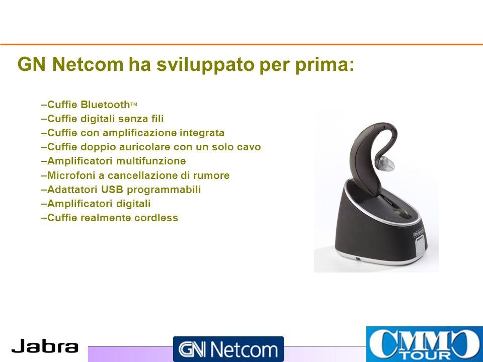 GN Netcom ha sviluppato per prima: – –Cuffie Bluetooth TM – –Cuffie digitali senza fili – –Cuffie con amplificazione integrata – –Cuffie doppio auricolare con un solo cavo – –Amplificatori multifunzione – –Microfoni a cancellazione di rumore – –Adattatori USB programmabili – –Amplificatori digitali – –Cuffie realmente cordless