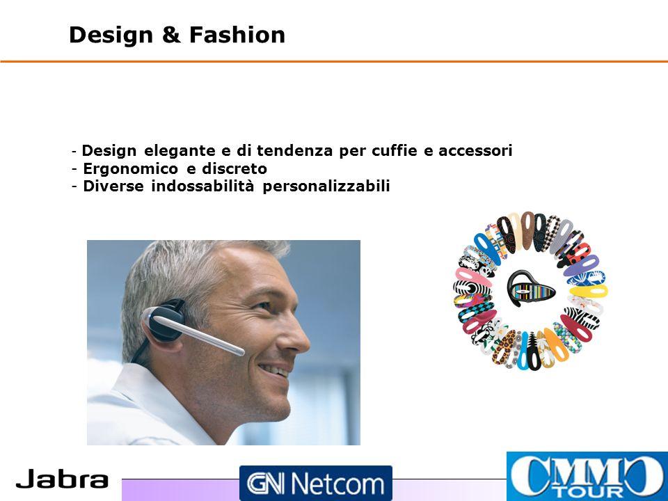 Design & Fashion - - Design elegante e di tendenza per cuffie e accessori - - Ergonomico e discreto - - Diverse indossabilità personalizzabili