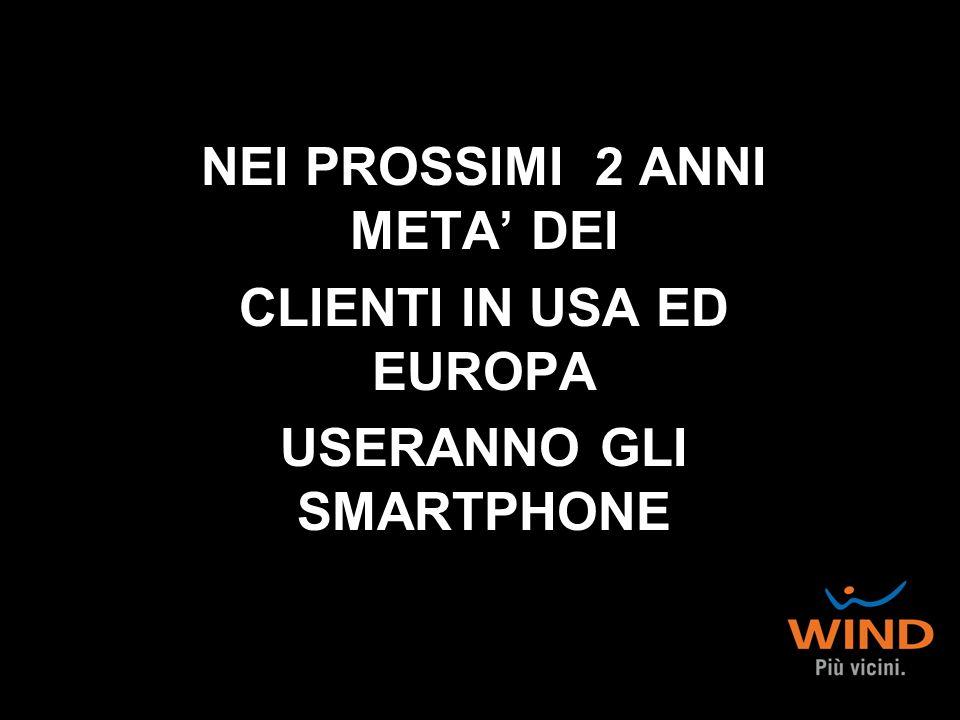 NEI PROSSIMI 2 ANNI META DEI CLIENTI IN USA ED EUROPA USERANNO GLI SMARTPHONE