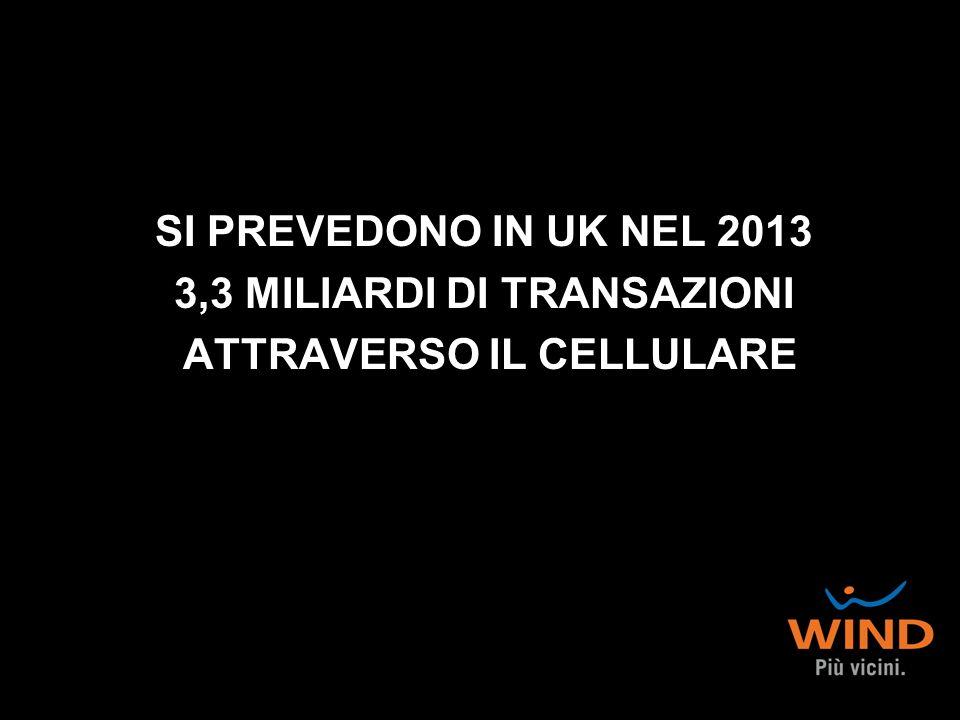 SI PREVEDONO IN UK NEL 2013 3,3 MILIARDI DI TRANSAZIONI ATTRAVERSO IL CELLULARE