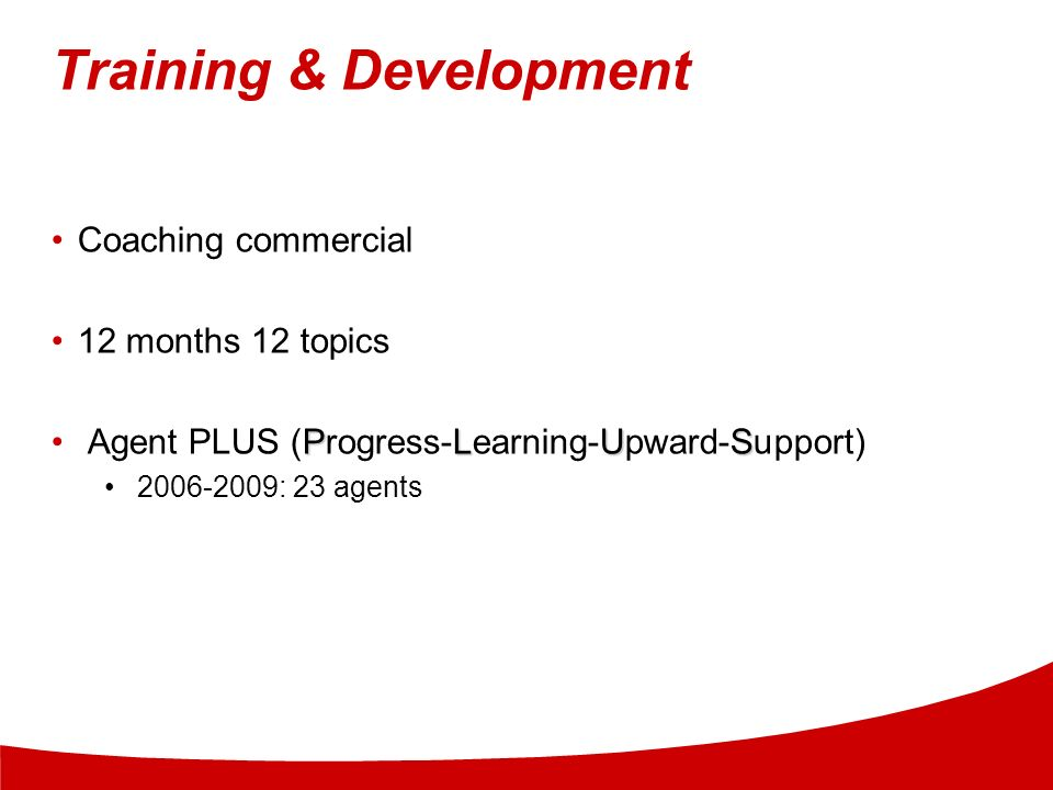 Training & Development Coaching commercial 12 months 12 topics PLUS Agent PLUS (Progress-Learning-Upward-Support) 2006-2009: 23 agents