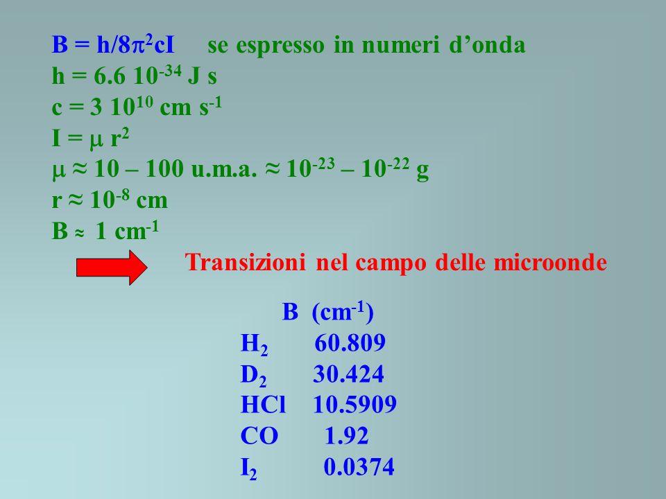 B (cm -1 ) H 2 60.809 D 2 30.424 HCl 10.5909 CO 1.92 I 2 0.0374 B = h/8 2 cI se espresso in numeri donda h = 6.6 10 -34 J s c = 3 10 10 cm s -1 I = r 2 10 – 100 u.m.a.