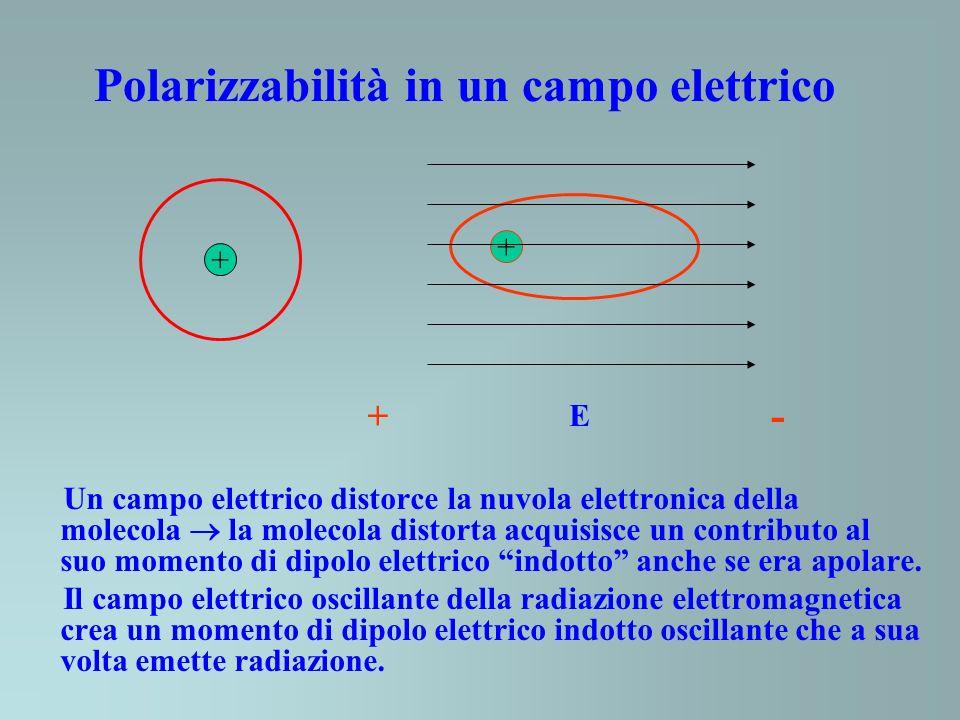 Polarizzabilità in un campo elettrico + + E + - Un campo elettrico distorce la nuvola elettronica della molecola la molecola distorta acquisisce un contributo al suo momento di dipolo elettrico indotto anche se era apolare.