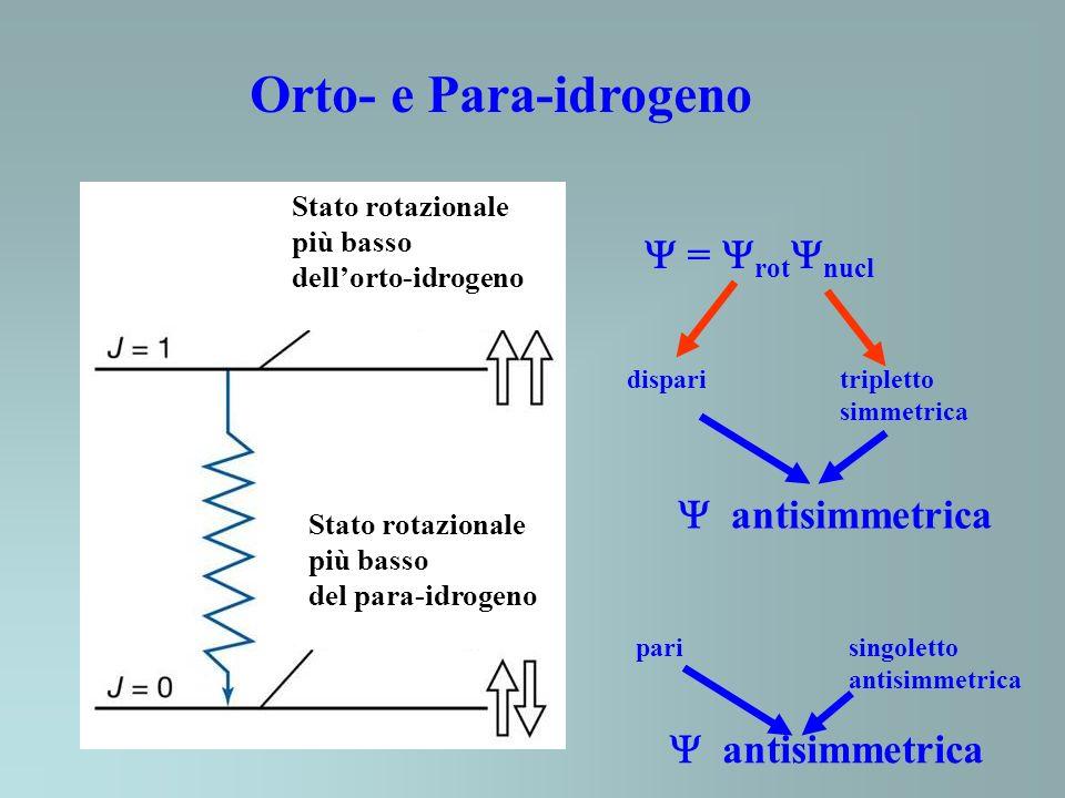 Orto- e Para-idrogeno Stato rotazionale più basso dellorto-idrogeno Stato rotazionale più basso del para-idrogeno = rot nucl disparitripletto simmetrica antisimmetrica parisingoletto antisimmetrica