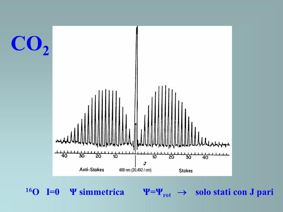 CO 2 16 O I=0 Ψ simmetrica Ψ=Ψ rot solo stati con J pari