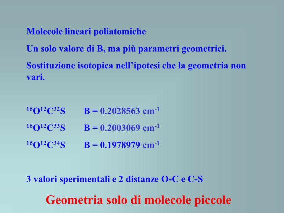 Molecole lineari poliatomiche Un solo valore di B, ma più parametri geometrici. Sostituzione isotopica nellipotesi che la geometria non vari. 16 O 12