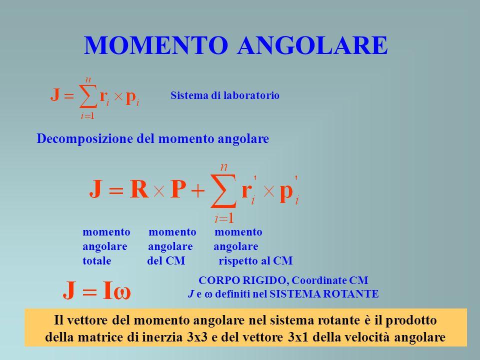 MOMENTO ANGOLARE Sistema di laboratorio Decomposizione del momento angolare momento momento momento angolare angolare angolare totale del CM rispetto al CM CORPO RIGIDO, Coordinate CM J e definiti nel SISTEMA ROTANTE Il vettore del momento angolare nel sistema rotante è il prodotto della matrice di inerzia 3x3 e del vettore 3x1 della velocità angolare