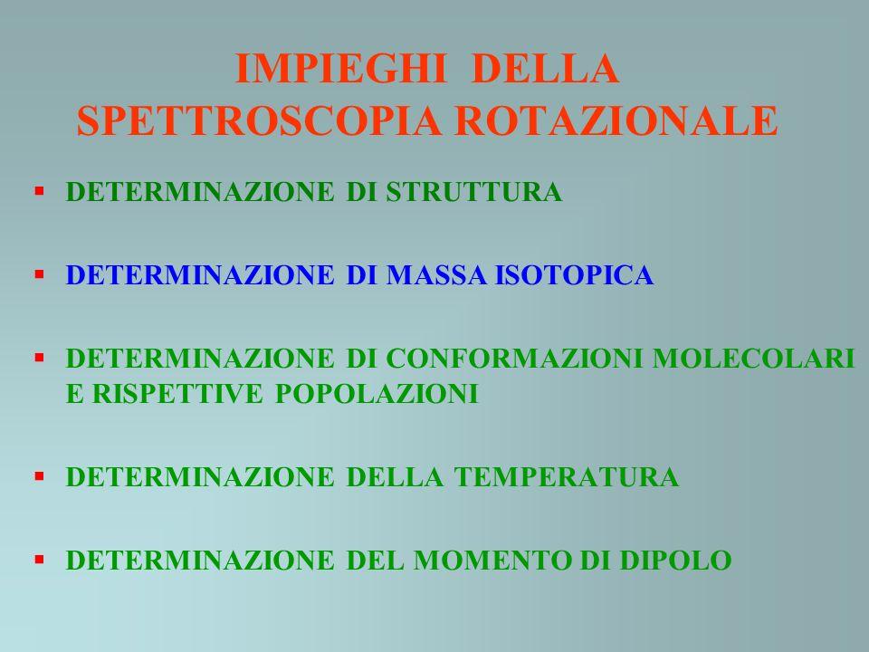 IMPIEGHI DELLA SPETTROSCOPIA ROTAZIONALE DETERMINAZIONE DI STRUTTURA DETERMINAZIONE DI MASSA ISOTOPICA DETERMINAZIONE DI CONFORMAZIONI MOLECOLARI E RISPETTIVE POPOLAZIONI DETERMINAZIONE DELLA TEMPERATURA DETERMINAZIONE DEL MOMENTO DI DIPOLO