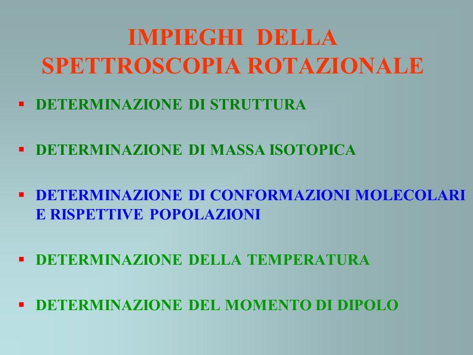 IMPIEGHI DELLA SPETTROSCOPIA ROTAZIONALE DETERMINAZIONE DI STRUTTURA DETERMINAZIONE DI MASSA ISOTOPICA DETERMINAZIONE DI CONFORMAZIONI MOLECOLARI E RI