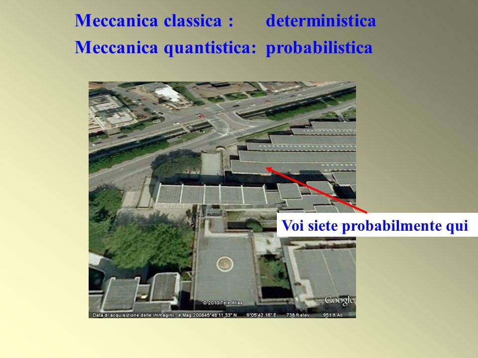 Voi siete probabilmente qui Meccanica classica : deterministica Meccanica quantistica: probabilistica