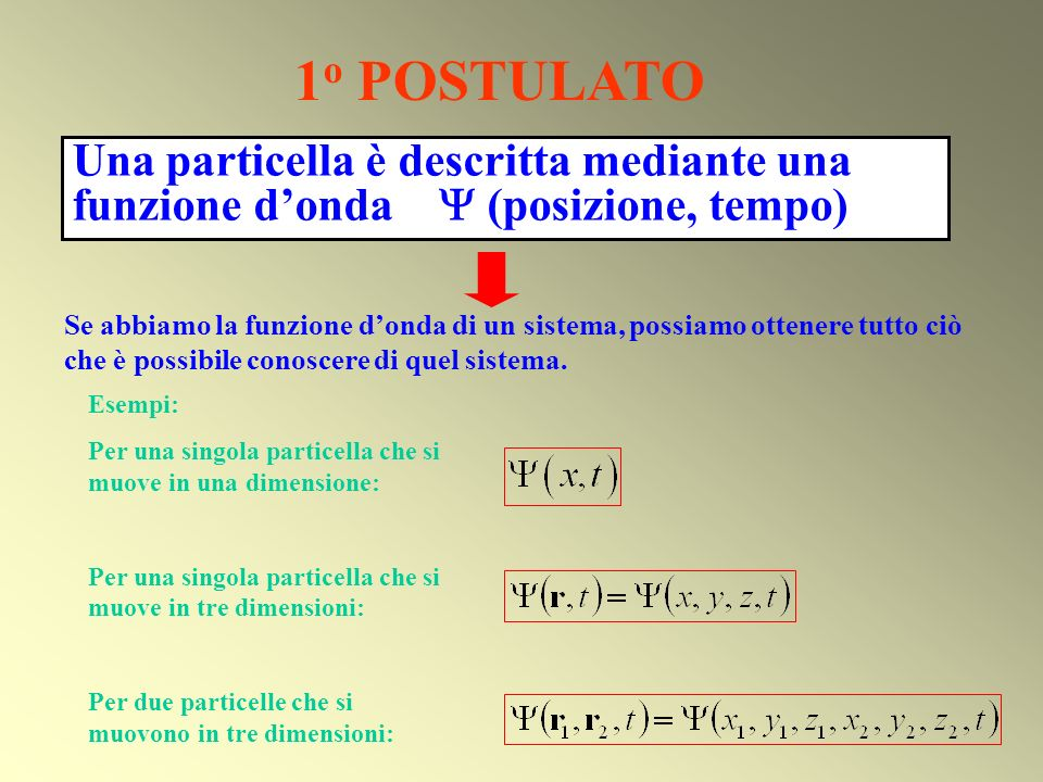 Una particella è descritta mediante una funzione donda (posizione, tempo) 1 o POSTULATO Esempi: Per una singola particella che si muove in una dimensi