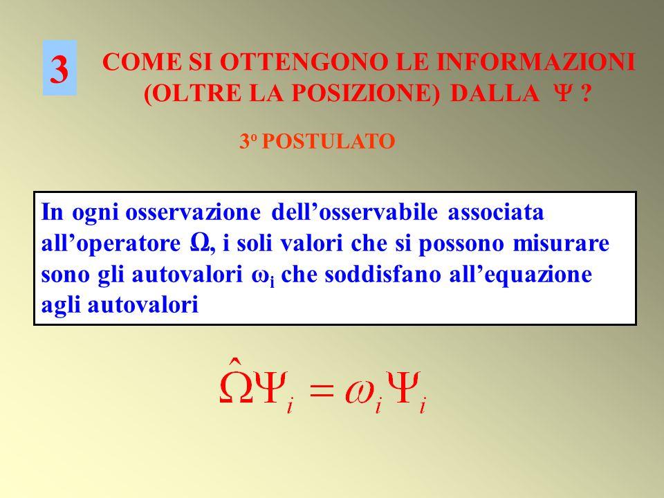 COME SI OTTENGONO LE INFORMAZIONI (OLTRE LA POSIZIONE) DALLA ? 3 3 o POSTULATO In ogni osservazione dellosservabile associata alloperatore, i soli val