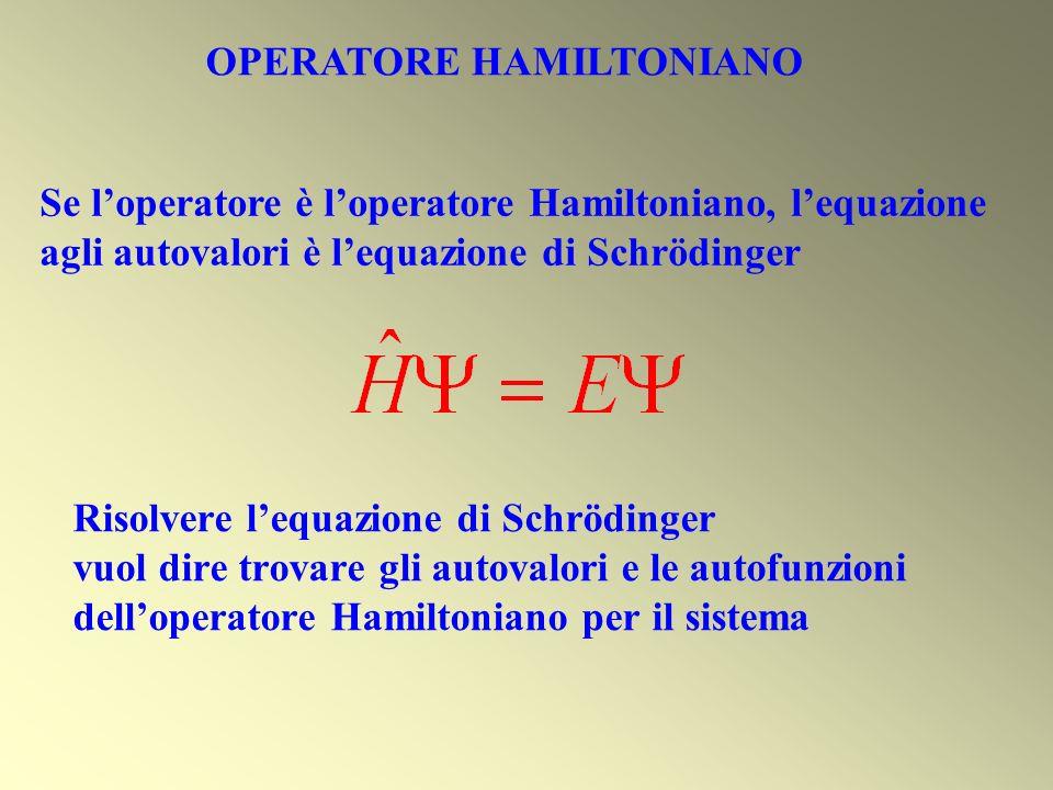 Risolvere lequazione di Schrödinger vuol dire trovare gli autovalori e le autofunzioni delloperatore Hamiltoniano per il sistema Se loperatore è loper