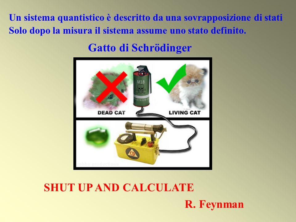 Un sistema quantistico è descritto da una sovrapposizione di stati Solo dopo la misura il sistema assume uno stato definito. SHUT UP AND CALCULATE R.