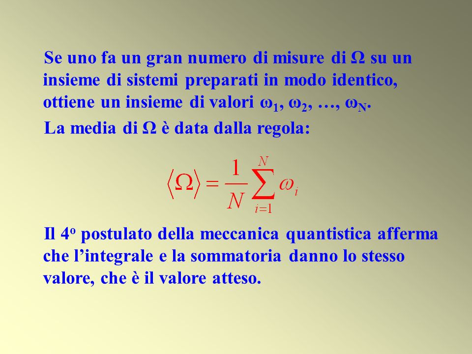 Se uno fa un gran numero di misure di Ω su un insieme di sistemi preparati in modo identico, ottiene un insieme di valori ω 1, ω 2, …, ω N. La media d