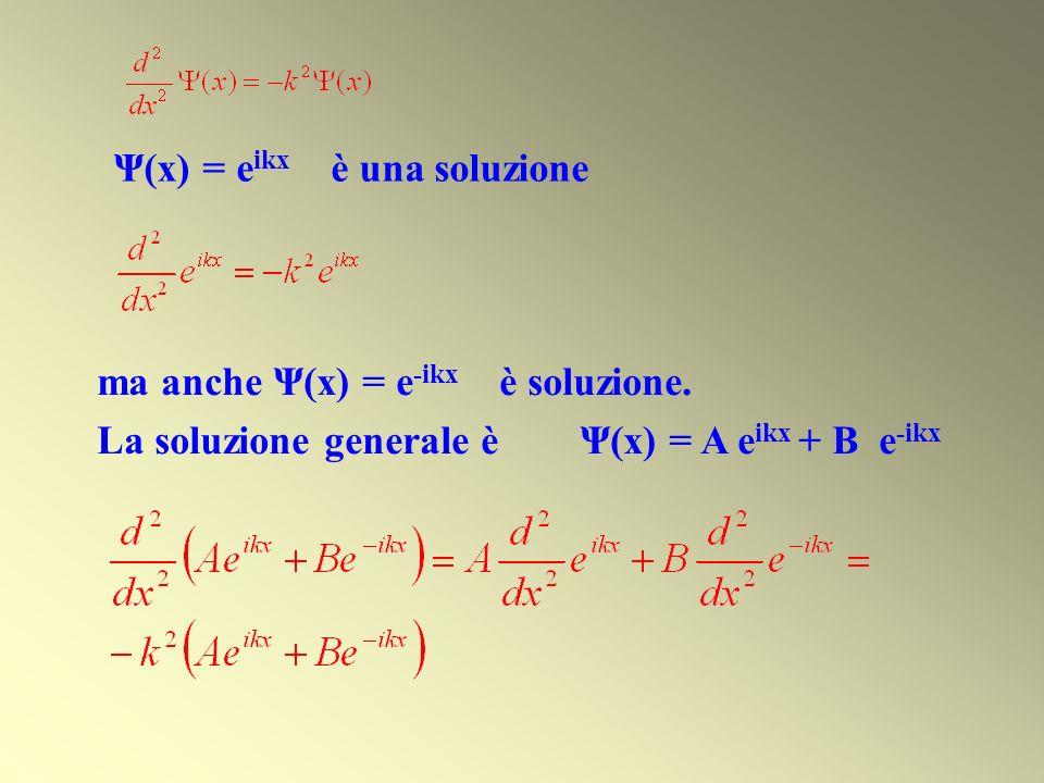 Ψ(x) = e ikx è una soluzione ma anche Ψ(x) = e -ikx è soluzione. La soluzione generale è Ψ(x) = A e ikx + B e -ikx