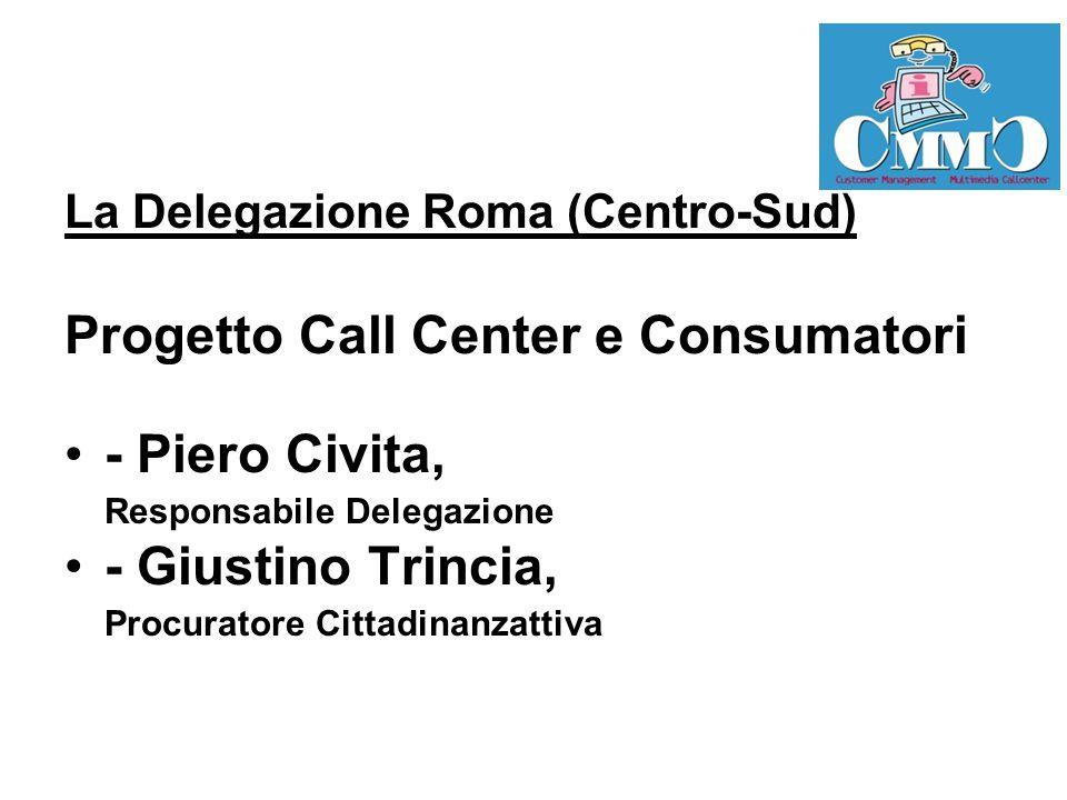 La Delegazione Roma (Centro-Sud) Progetto Call Center e Consumatori - Piero Civita, Responsabile Delegazione - Giustino Trincia, Procuratore Cittadinanzattiva