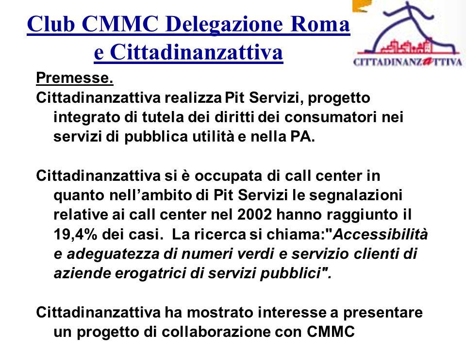 Club CMMC Delegazione Roma e Cittadinanzattiva Premesse.