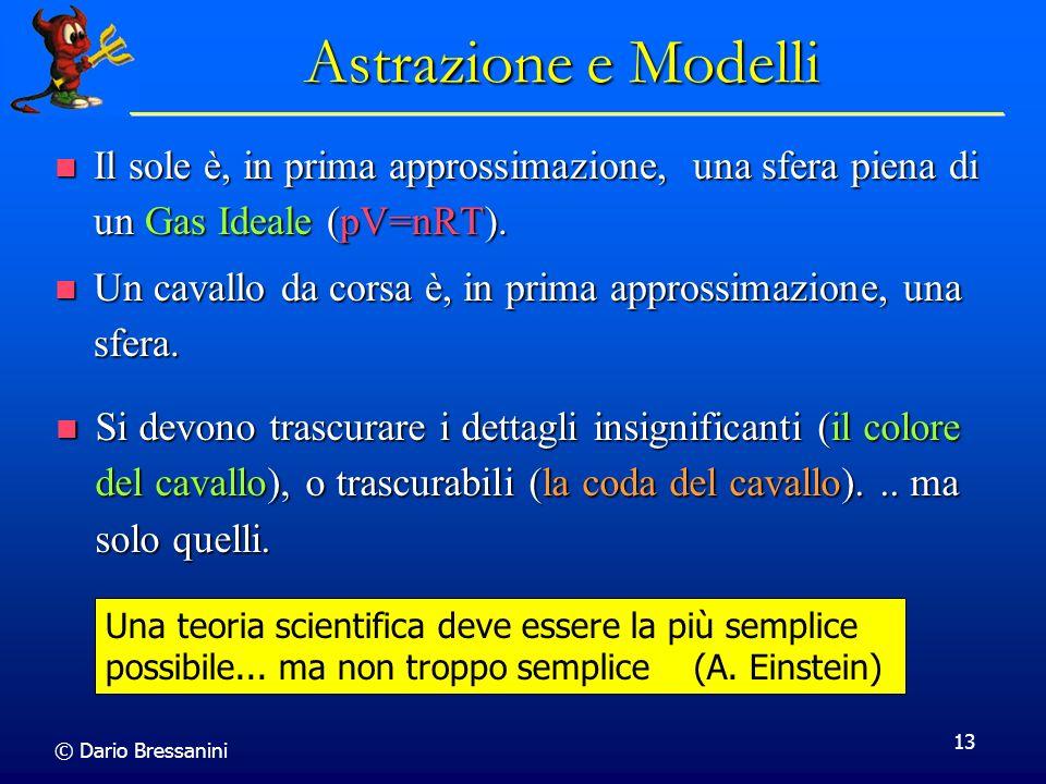 © Dario Bressanini 13 Astrazione e Modelli Il sole è, in prima approssimazione, una sfera piena di un Gas Ideale (pV=nRT). Il sole è, in prima appross