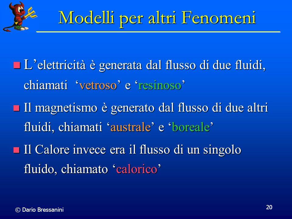 © Dario Bressanini 20 Modelli per altri Fenomeni L elettricità è generata dal flusso di due fluidi, chiamati vetroso e resinoso L elettricità è genera