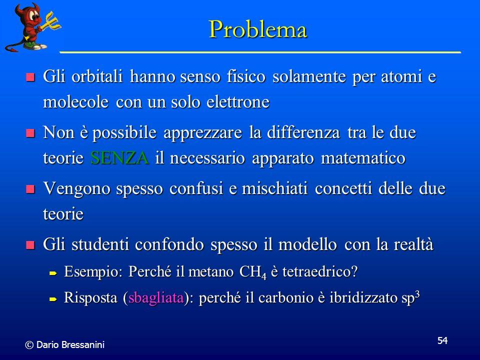 © Dario Bressanini 54 Problema Gli orbitali hanno senso fisico solamente per atomi e molecole con un solo elettrone Gli orbitali hanno senso fisico so
