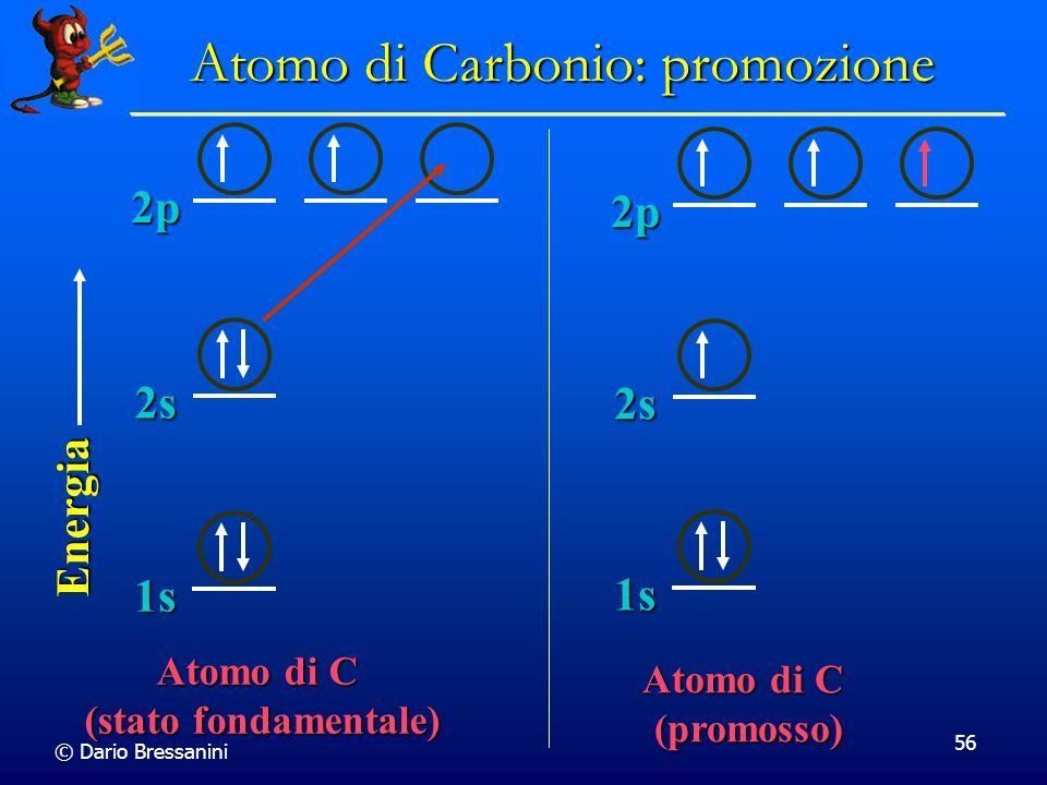 © Dario Bressanini 56 Atomo di C (stato fondamentale) 2s 2p Energia 1s 2s 2p 1s Atomo di C (promosso) Atomo di Carbonio: promozione