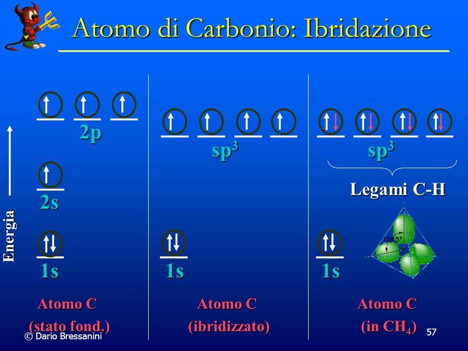 © Dario Bressanini 57 Atomo C (stato fond.) Energia 1s 2p 2s sp 3 1s Atomo C (ibridizzato) sp 3 1s Atomo C (in CH 4 ) Legami C-H Atomo di Carbonio: Ib