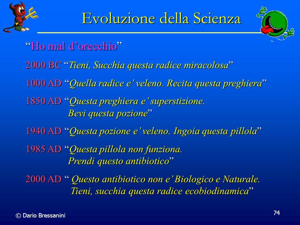 © Dario Bressanini 74 Evoluzione della Scienza Ho mal dorecchioHo mal dorecchio 2000 BC Tieni, Succhia questa radice miracolosa 1000 AD Quella radice