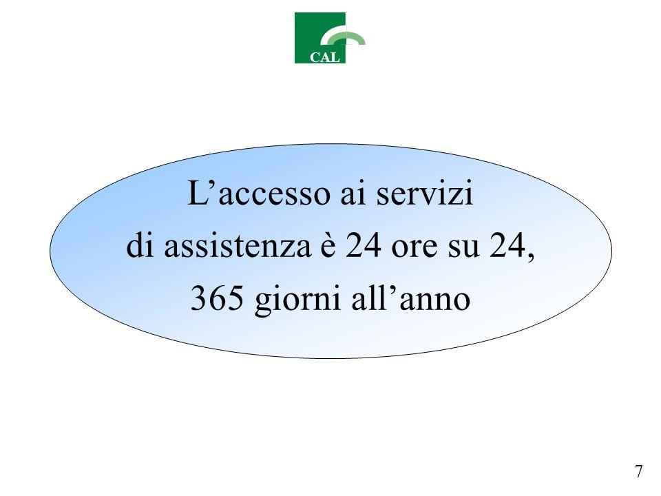 CAL Laccesso ai servizi di assistenza è 24 ore su 24, 365 giorni allanno 7