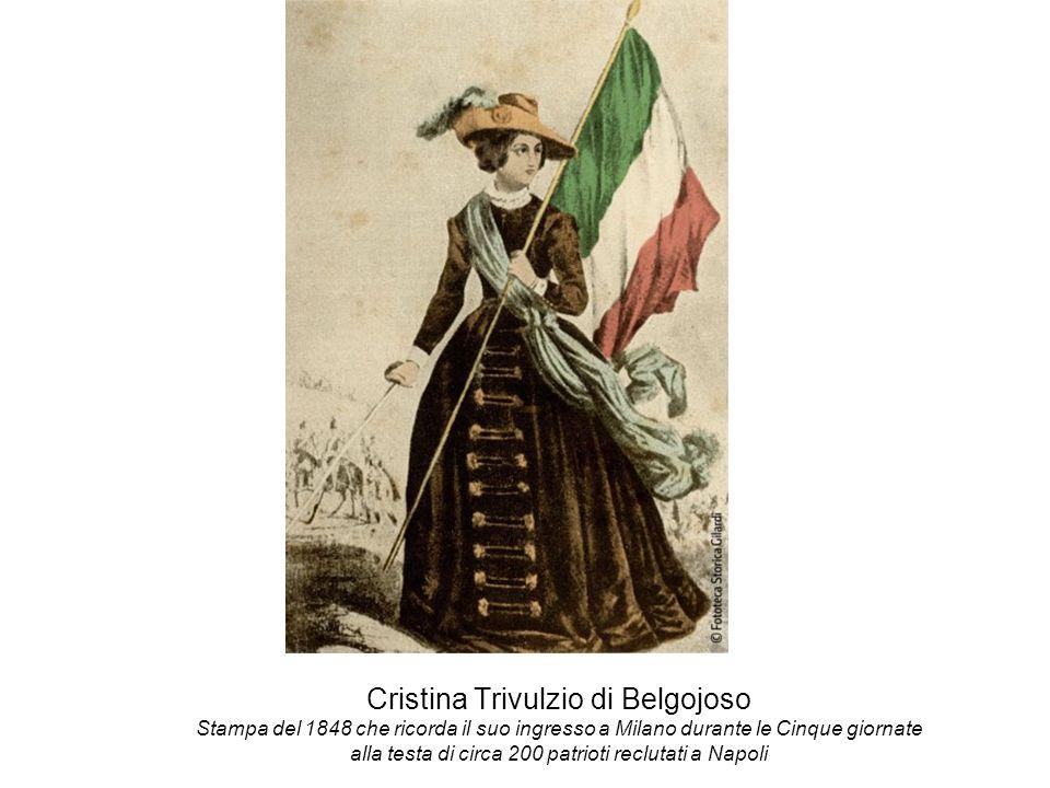 Cristina Trivulzio di Belgojoso Stampa del 1848 che ricorda il suo ingresso a Milano durante le Cinque giornate alla testa di circa 200 patrioti reclu