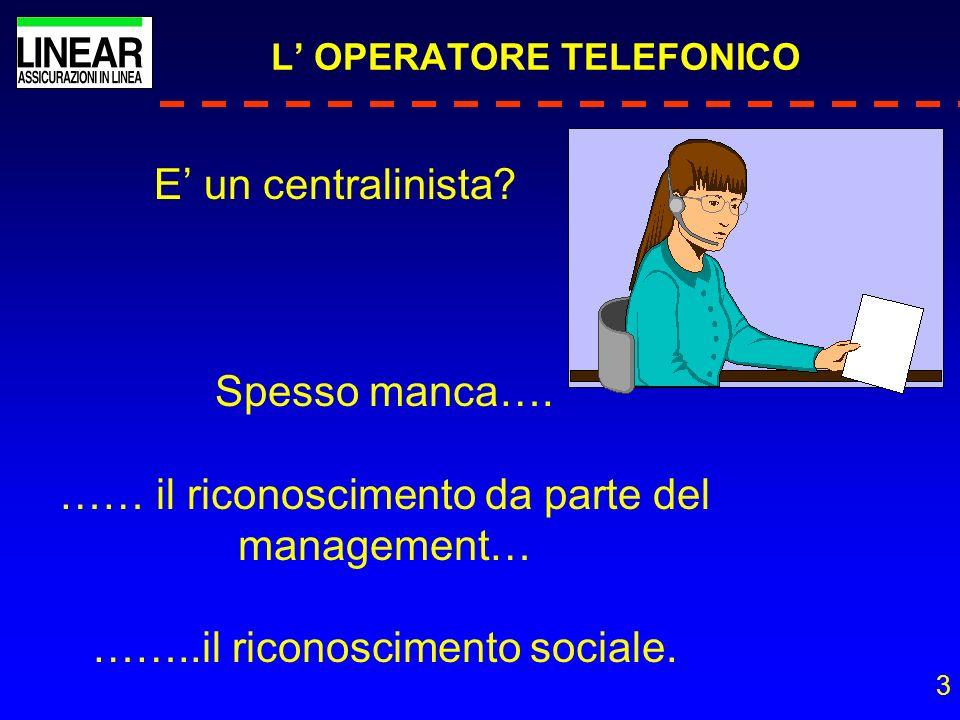 3 L OPERATORE TELEFONICO E un centralinista? Spesso manca…. …… il riconoscimento da parte del management… ……..il riconoscimento sociale.
