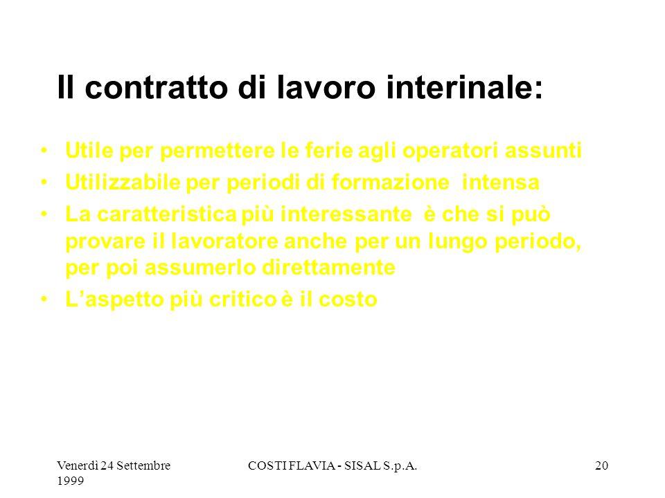 Venerdì 24 Settembre 1999 COSTI FLAVIA - SISAL S.p.A.19 IL contratto di lavoro a tempo determinato : Molto utile in caso di progetti straordinari Vali