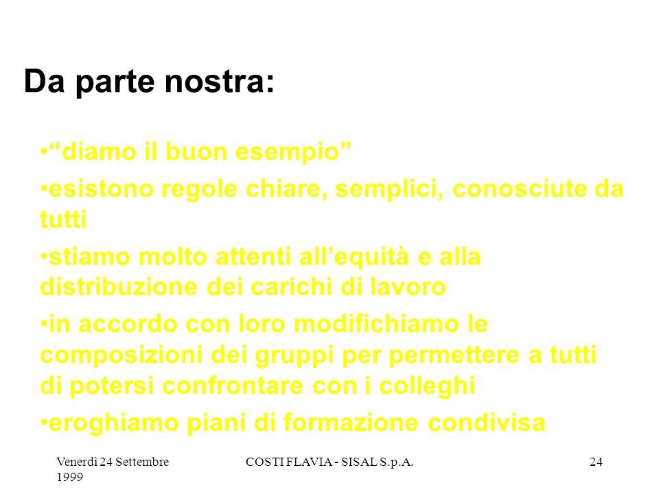 Venerdì 24 Settembre 1999 COSTI FLAVIA - SISAL S.p.A.23 Per permetterci una gestione flessibile, necessaria per il nostro tipo di attività, abbiamo ch