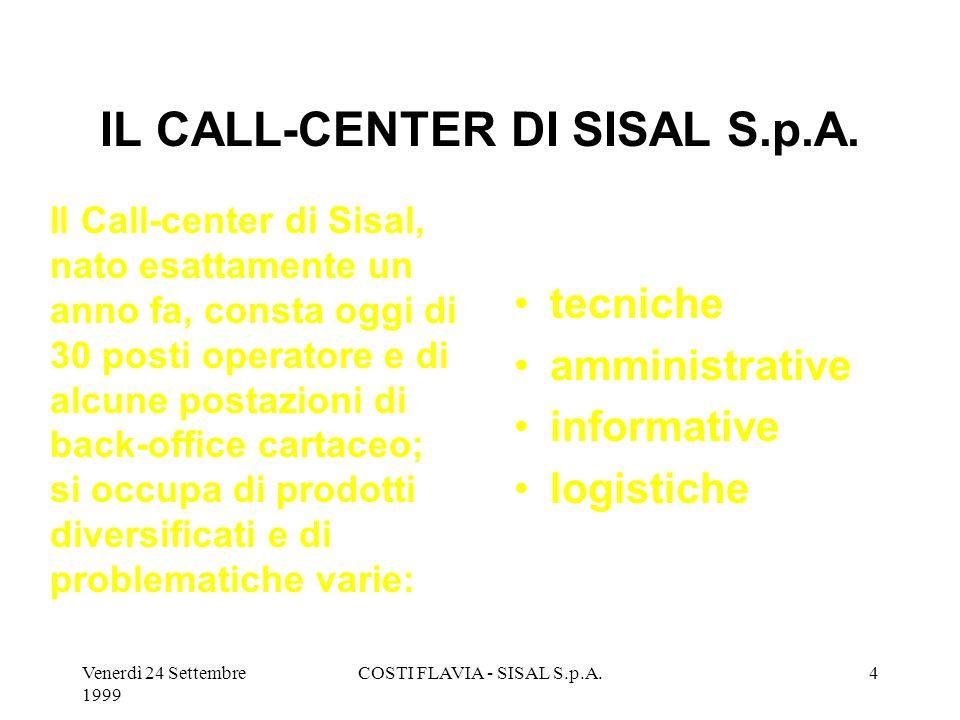 Venerdì 24 Settembre 1999 COSTI FLAVIA - SISAL S.p.A.3 IL CALL-CENTER DI SISAL S.p.A. La gestione della turnistica e quindi lorganizzazione delle ore/
