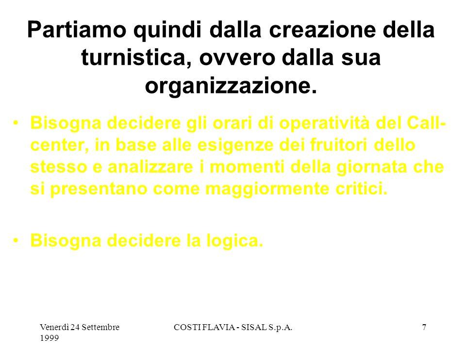 Venerdì 24 Settembre 1999 COSTI FLAVIA - SISAL S.p.A.7 Partiamo quindi dalla creazione della turnistica, ovvero dalla sua organizzazione.
