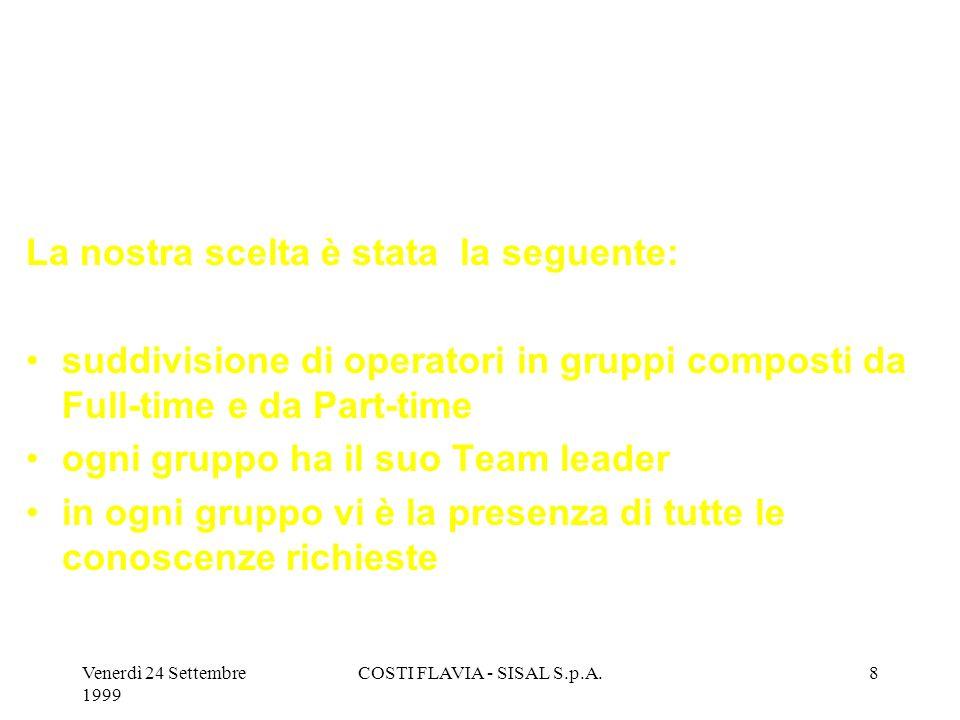 Venerdì 24 Settembre 1999 COSTI FLAVIA - SISAL S.p.A.8 La nostra scelta è stata la seguente: suddivisione di operatori in gruppi composti da Full-time e da Part-time ogni gruppo ha il suo Team leader in ogni gruppo vi è la presenza di tutte le conoscenze richieste