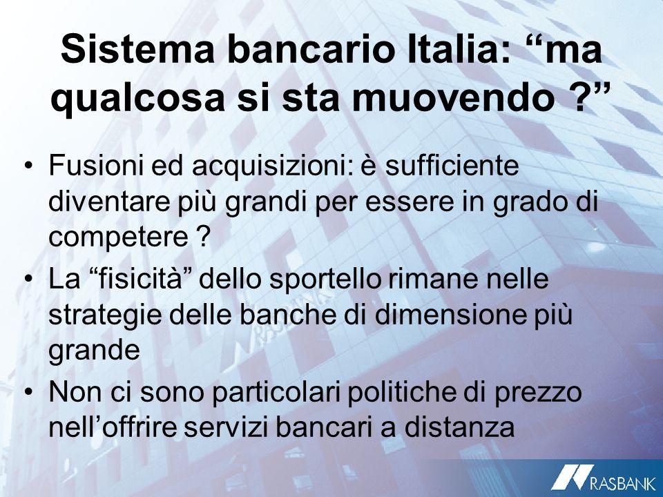 Sistema bancario Italia: ma qualcosa si sta muovendo ? Fusioni ed acquisizioni: è sufficiente diventare più grandi per essere in grado di competere ?