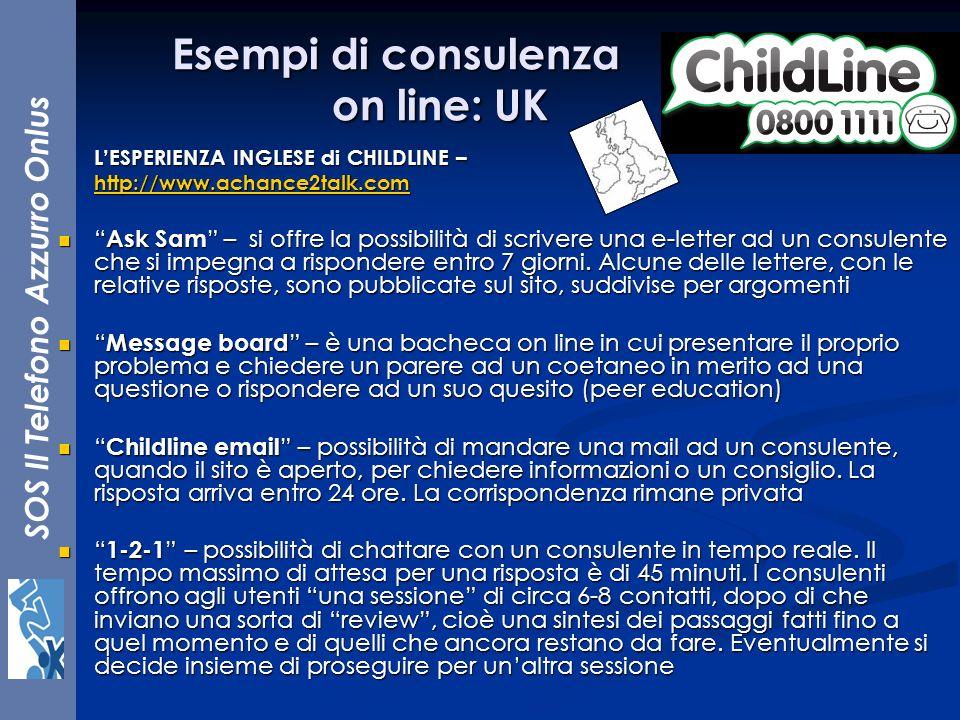 SOS Il Telefono Azzurro Onlus LESPERIENZA INGLESE di CHILDLINE – http://www.achance2talk.com Ask Sam – si offre la possibilità di scrivere una e-lette