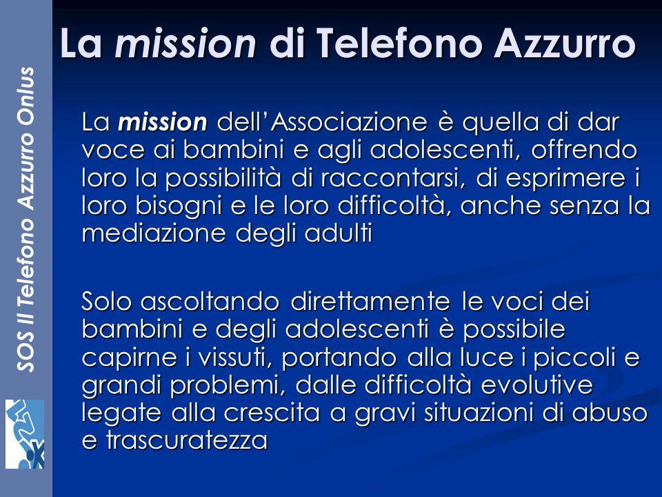La mission di Telefono Azzurro La mission dellAssociazione è quella di dar voce ai bambini e agli adolescenti, offrendo loro la possibilità di raccont