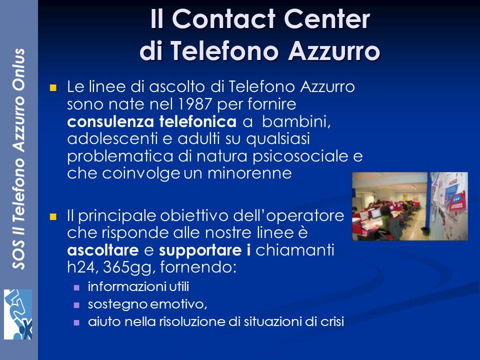 SOS Il Telefono Azzurro Onlus Il Contact Center di Telefono Azzurro Le linee di ascolto di Telefono Azzurro sono nate nel 1987 per fornire consulenza