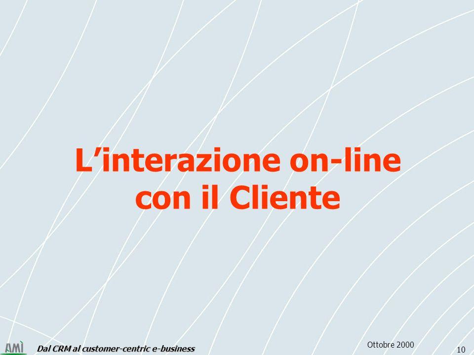 Dal CRM al customer-centric e-business 10 Ottobre 2000 Linterazione on-line con il Cliente
