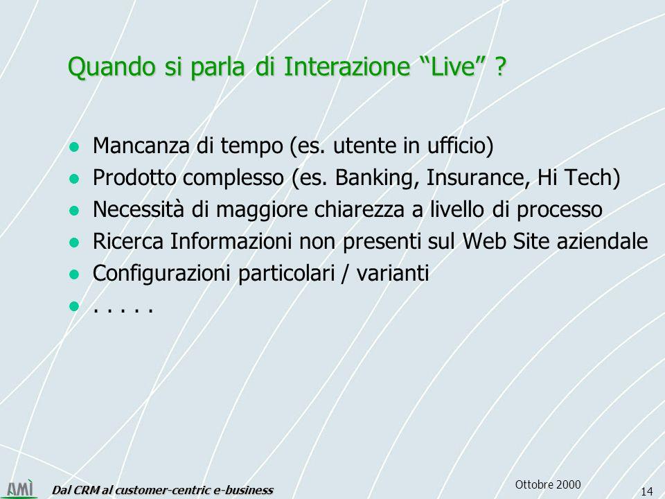 Dal CRM al customer-centric e-business 14 Ottobre 2000 Quando si parla di Interazione Live .