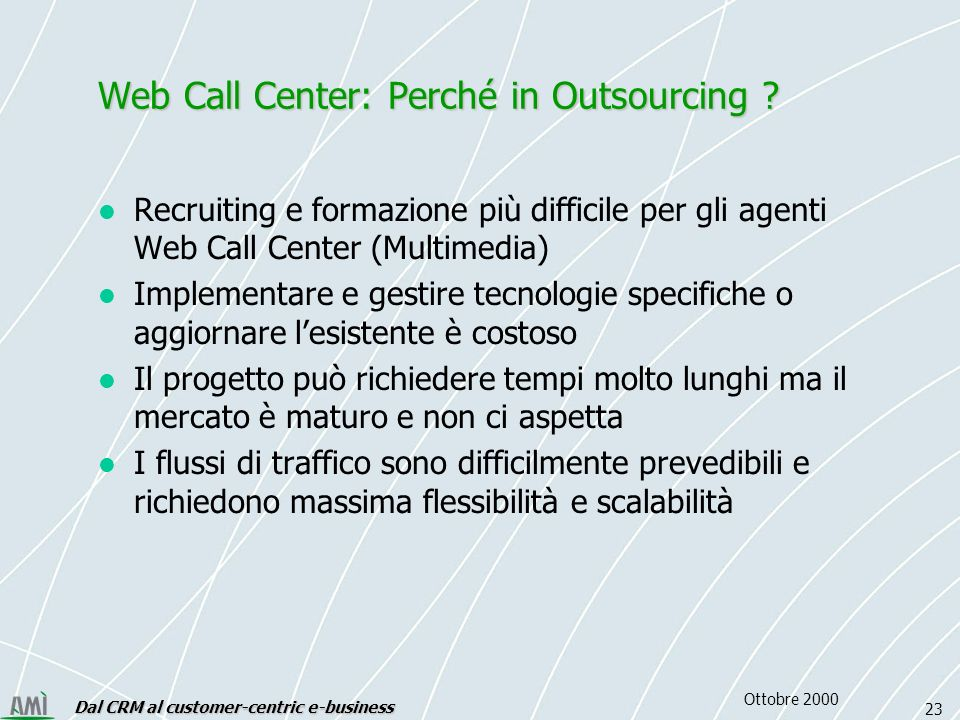 Dal CRM al customer-centric e-business 23 Ottobre 2000 Web Call Center: Perché in Outsourcing .