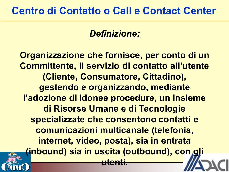 Centro di Contatto o Call e Contact Center Definizione: Organizzazione che fornisce, per conto di un Committente, il servizio di contatto allutente (C